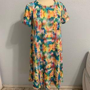 LuLaRoe Carly Dress Medium Multicolor roses